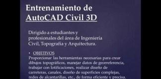 Entrenamiento de AutoCAD Civil 3D